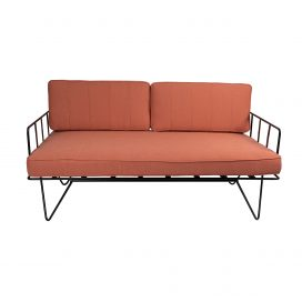 Sofa Lounge – Black Wire 2-Seater with Coral Pink Cushions