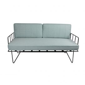 Sofa Lounge – Black Wire 2-Seater with Duck Egg Blue Cushions