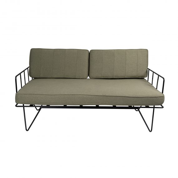 Sofa Lounge – Black Wire 2-Seater with Sage Green Cushions