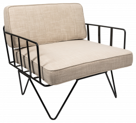 Sofa Lounge – Black Wire Single Seater Chair with Natural Cushions