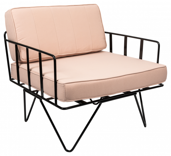 Sofa Lounge – Black Wire Single Seater Chair with Light Pink Cushions
