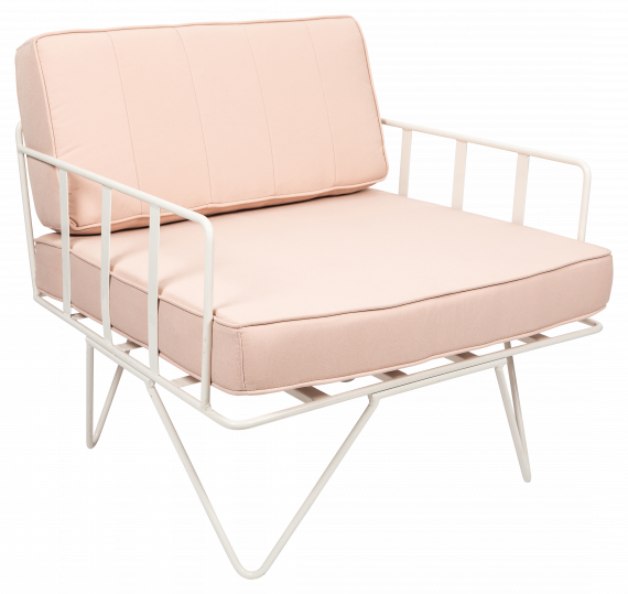 Sofa Lounge – White Wire Single Seater Chair with Light Pink Cushions