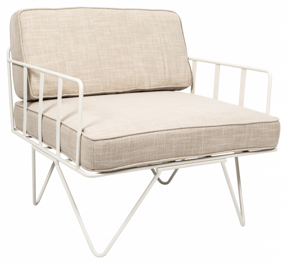 Sofa Lounge – White Wire Single Seater Chair with Natural Cushions