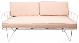 Sofa Lounge - White Wire 2-Seater with Light Pink Cushions