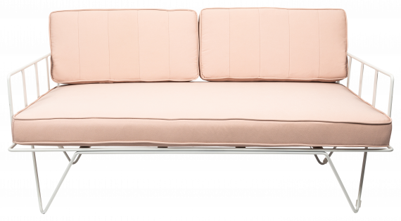 Sofa Lounge – White Wire 2-Seater with Light Pink Cushions