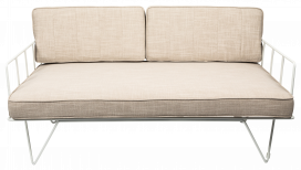 Sofa Lounge - White Wire 2-Seater with Natural Cushions