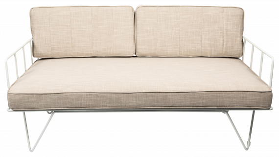 Sofa Lounge – White Wire 2-Seater with Natural Cushions
