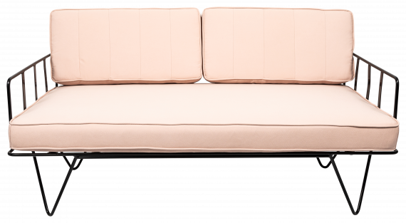 Sofa Lounge – Black Wire 2-Seater with Light Pink Cushions