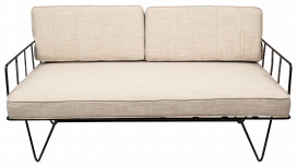 Sofa Lounge – Black Wire 2-Seater with Natural Cushions