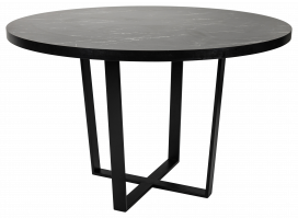 Dining Table – Round Black Marble and Black Cross Leg Base