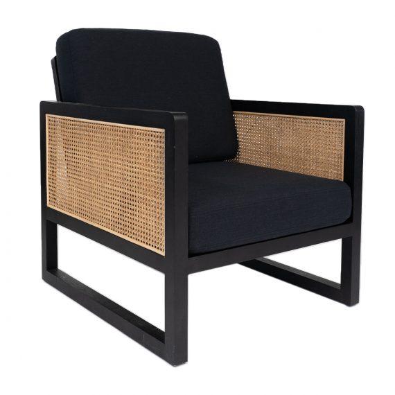 Armchair – Rattan with Black Cushions