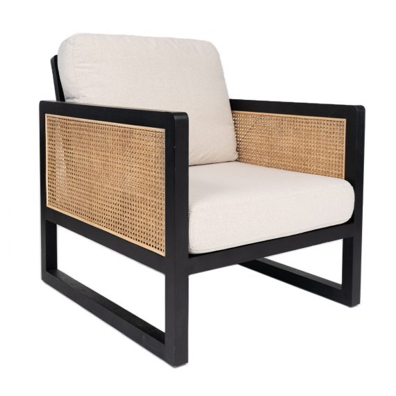Armchair – Rattan with Natural Cushions