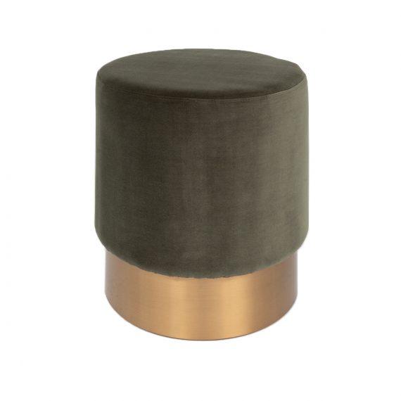 Brass Ottoman – Round Army Green