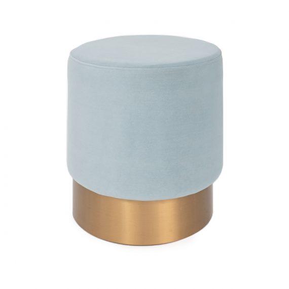 Brass Ottoman – Round Power Blue