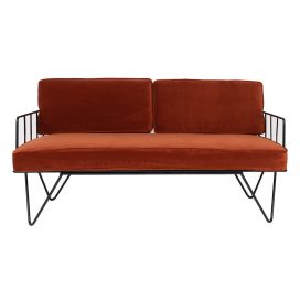 Sofa Lounge – Black Wire 2-Seater with Copper Cushions