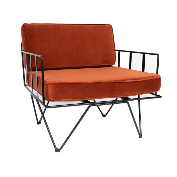 Sofa Lounge – Black Wire Single Seater Chair with Copper Cushions