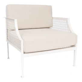 Sofa Lounge – White Mesh Armchair with Natural Cushions