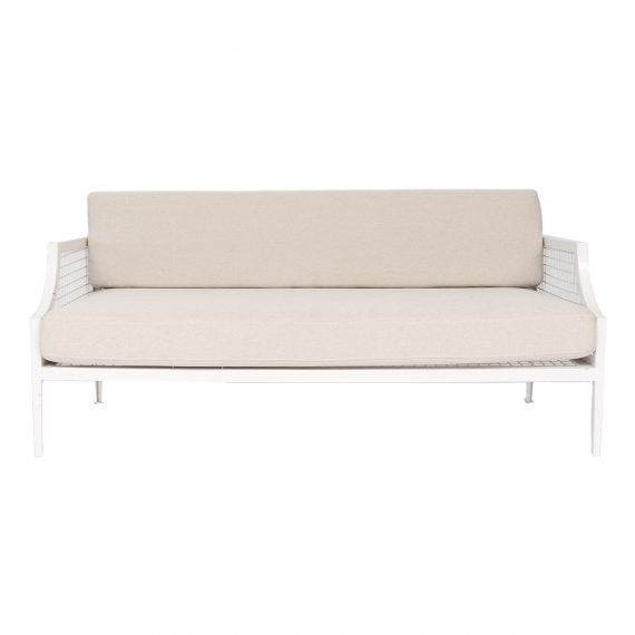 Marseille Mesh 2.5 Seater Sofa Lounge – White with Natural Cushions