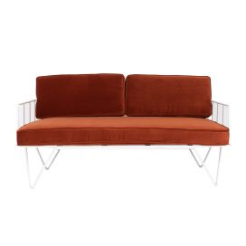 Linear Wire 2 Seater Sofa Lounge – White with Copper Cushions