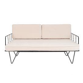 Linear Wire 2 Seater Sofa Lounge  – Black with Champagne Cushions