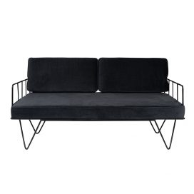Linear Wire 2 Seater Sofa Lounge  – Black with Charcoal Cushions