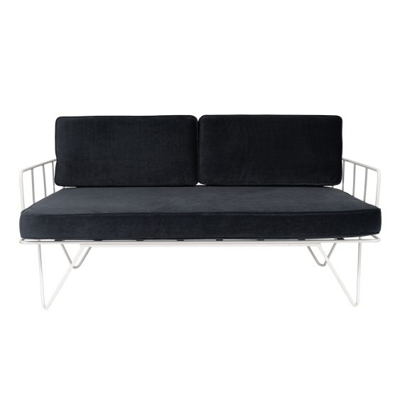 Linear Wire 2 Seater Sofa Lounge  – White with Charcoal Cushions