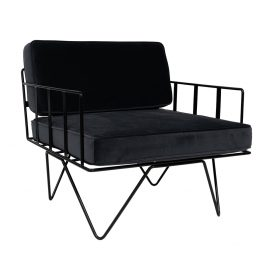 Linear Wire Single Seater Chair – Black with Charcoal Cushions