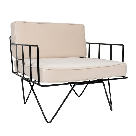 Linear Wire Single Seater Chair – Black with Champagne Cushions