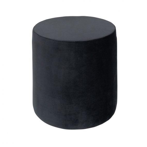Round Velvet Ottoman – Charcoal