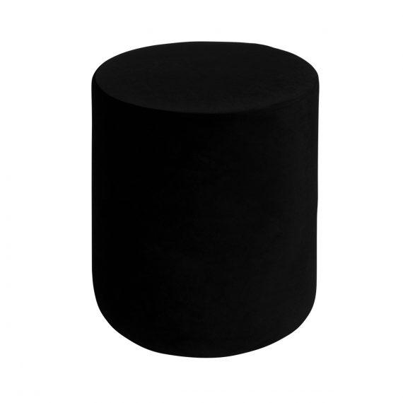 Round Velvet Ottoman – Black