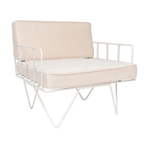 Linear Wire Single Seater Chair – White with Champagne Cushions